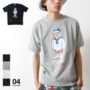 DUCK DUDE キャラ ロゴ デザイン スウェット クルーネック 半袖 カットソー メンズ トレンド|soyous