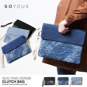 キルティング デニム クラッチバッグ|soyous