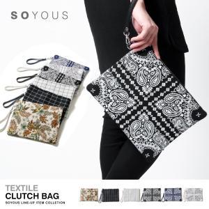 テキスタイル キャンバス クラッチバッグ|soyous