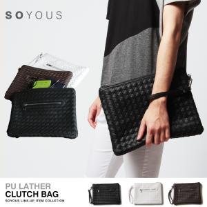PUレザー イントレチャート クラッチバッグ メンズ|soyous