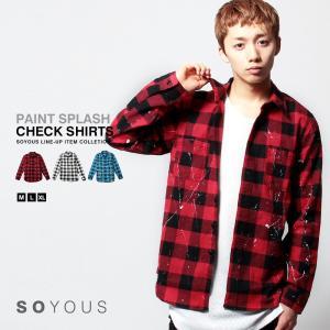 チェック シャツ メンズ バッファロー ペンキ 加工|soyous