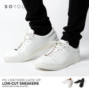 PUレザー レースアップ 編み上げ シューズ メンズ|soyous