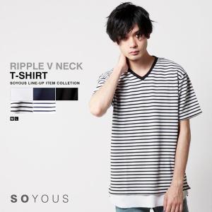 リップル Vネック 半袖 Tシャツ メンズ|soyous