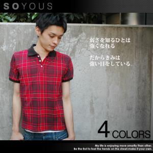 ポロシャツ メンズ 半袖/鹿の子 シャツ チェック メンズ トレンド|soyous