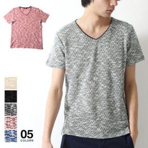 スラブ 杢 Vネック 半袖 Tシャツ カットソー メンズ トレンド|soyous