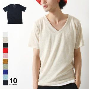 ポリ麻混ニット Vネック 半袖 Tシャツ ニットソー メンズ トレンド|soyous