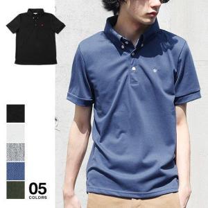 鹿の子 ワンポイント 刺繍 ボタンダウン 半袖 ポロシャツ メンズ トレンド|soyous