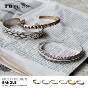 マルチパターンデザイン バングル フェザー スタッズ ネイティブ 羽根 メンズ ユニセックス 男性|soyous