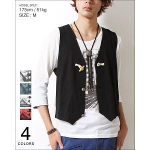 ジレ ベスト Tシャツ アンサンブル メンズ ループタイ付き メンズ トレンド|soyous