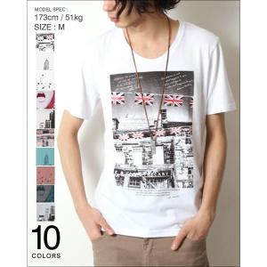 Tシャツ メンズ 半袖 フォト プリント Uネック メンズ トレンド|soyous