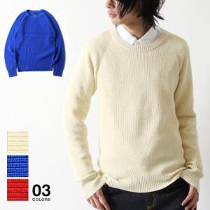 9ゲージ 畦編み ニット クルーネック 長袖 セーター メンズ トレンド|soyous