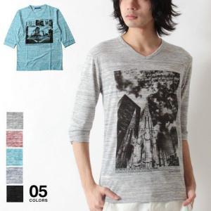 引き揃え杢 6分袖 Vネック プリント Tシャツ カットソー メンズ トレンド|soyous