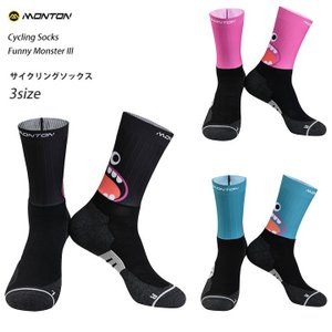 (2点までクリックポスト200円OK)Monton[モントン]サイクリングエアロソックス[URBAN Funnymonster III-ショートタイプ]自転車用靴下サイクルソックス|sp-kid