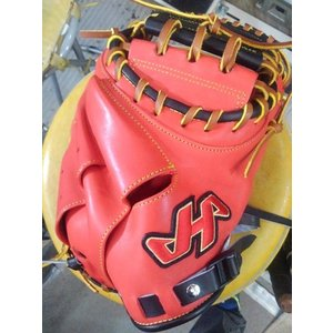 カスタマイズミット ハタケヤマ軟式少年JL8RS 赤X黒Xタン 湯揉み型付け込み|sp-mikuni0595