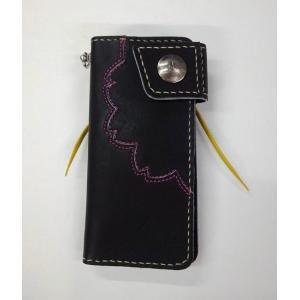 グラブの革製 オンリーワン 手作りのロングウォレット(長財布)夜桜(ブラックXピンクステッチ)シングルファスナー|sp-mikuni0595