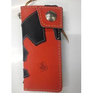 グラブの革製 オンリーワン 手作りのロングウォレット(長財布)ブラックXレッド シングルファスナー|sp-mikuni0595