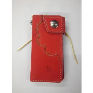 グラブの革製 オンリーワン 手作りのロングウォレット(長財布)紅桜(レッドXゴールドステッチ)シングルファスナー|sp-mikuni0595