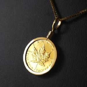 【純金 ネックレス コイン】24金 メイプル金貨 1/10オ...