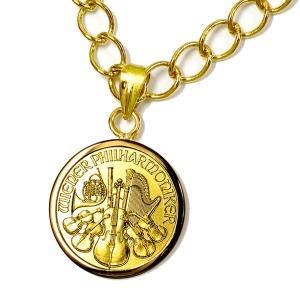 ウィーン金貨 1/25オンス 2017年製 伏込枠ペンダント オーストリア造幣局発行 1.24gの純金 24金 金貨 枠:K18 ネックレス 〈チェーン45cm 〉  アクセサリー|spacein