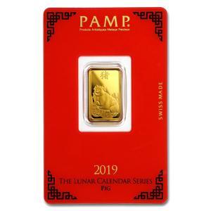 純金 インゴット『スイス パンプ ゴールドバー 5g 亥 (ブタ) 2019年製』スイス・パンプ社発行 5gの純金 品位:K24 (99.99%) 24金《安心の本物保証》保証書付き|spacein