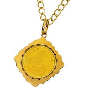 ツバルホース金貨 1/10オンス 2014年製 《菱形飾り枠ネックレス》ツバル政府発行 3.11g純金 24金 馬金貨 ジュエリー ネックレス 〈チェーン45cm 〉|spacein