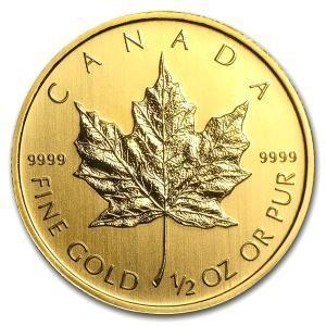 純金 コイン メダル 金貨 メイプル金貨 1/2オンス  (ランダム・イヤー)|spacein