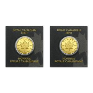 【2個セット】 純金 コイン 24金 純金製メイプル金貨 1g× 2  (ランダム・イヤー)|spacein