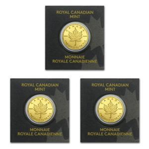 【3個セット】 純金 コイン 24金 純金製メイプル金貨 1g× 3  (ランダム・イヤー)|spacein