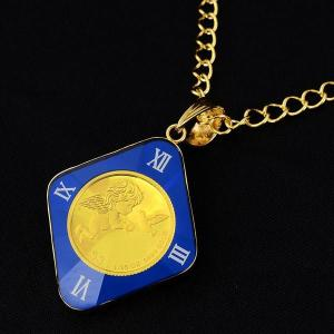 純金コイン ネックレス ペンダント ツバルエンジェル金貨 1/25 青色菱形枠ペンダント  ツバル政府発行 純金ペンダントトップ  〈チェーン45cm 〉   保証書付き|spacein