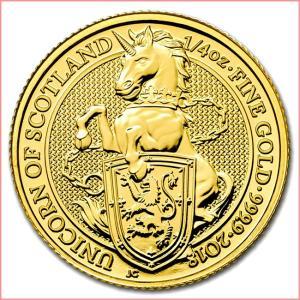金貨 コイン 純金『英国 クイーンズビースト ユニコーン金貨 1/4オンス』イギリス王立造幣局発行 7.77g 品位:K24 (99.99%) 24金《安心の本物保証》☆送料無料☆|spacein