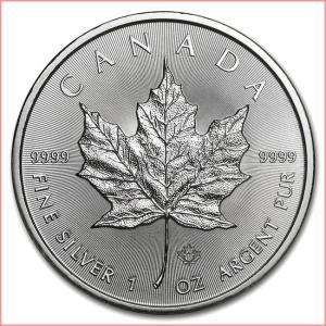 純銀 コイン『メイプル銀貨 1オンス 2019年製 クリアケース入り』 カナダ王室造幣局発行 31.1gの純銀 品位:99.99% シルバー《安心の本物保証》保証書付き|spacein