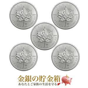 メイプルリーフ銀貨 1オンス クリアケース入り 5個セット 保証書付き|spacein