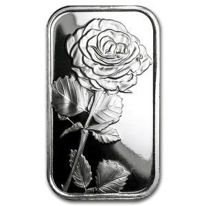 純銀 インゴット『シルバーバー 1オンス ローズ 薔薇』シルバータウン社発行 31.1gの純銀 品位:99.9% シルバー バー アメリカ《安心の本物保証》保証書付き spacein