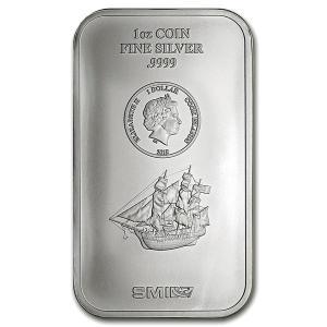 クックアイランド シルバーバー (帆船) 1オンス クック諸島政府発行 31.1gの純銀 INGOT インゴット高純度 シルバーコイン 純銀バー 保証書付き|spacein