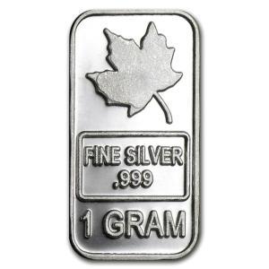 メイプルリーフ シルバーバー 1g プライベートミント発行 1gの純銀 インゴット 保証書付き