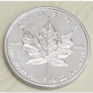 1991年製 メイプル プラチナコイン 1/4オンス カナダ...