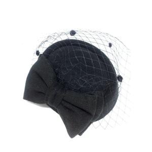 ヘッドドレス ウェディングハット 帽子 レディース チュール付 髪飾り(ブラック) spec-ssstore