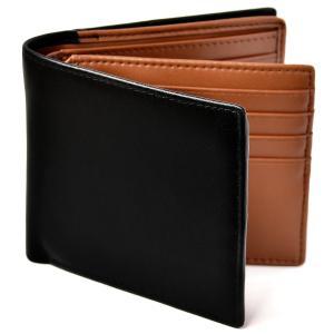 Le sourire 二つ折り 財布 本革 大容量 カード 18枚収納 新設計のボックス型小銭入れ メンズ (ブラック×ブラウン) spec-ssstore