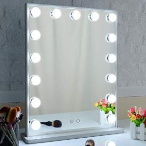 Nitin ハリウッドミラー 女優化粧鏡 15個LED電球付き デイライトウォームライト 2色ライトモード 卓上&壁掛け両用 バニティミラー 40*50cm(シルバー) spec-ssstore