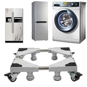 洗濯機 台 冷蔵庫置き台 キャスター付き台 耐荷重500kg 幅奥行40-68cm 洗濯機 かさ上げ 台車移動式 昇降可能 防振 減音効果 防振パッド付きホワイト(8輪4足)|spec-ssstore