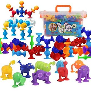 AISFA新感覚知育ブロック 吸盤 おもちゃ 96セット お風呂のおもちゃ 知育玩具 積み木 組み立て オリジナル 誕生日 プレゼン DIY スクイグズ 1、2、3歳以上男の子|spec-ssstore