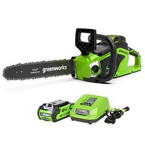 greenworks 40V充電式チェーンソー コードレス ガイドバー350mm ブラシレスモーター (2Ahバッテリー1個・充電器付) 伐採 薪つくり 剪定 枝打ち spec-ssstore