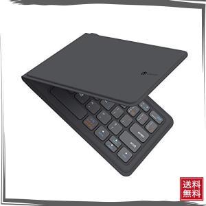 iClever Bluetoothキーボード 折りたたみ式 レザー調 折れない 360度回転 ワイヤ...