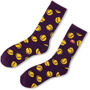 Ellesse エレッセ  テニスボール ソックス 男女兼用 ユニセックス Tennisball Socks EHA00104 パープル|spg-sports