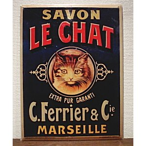 【SALE】フランス猫メタルポスター フランスのコスメティック広告イラスト復刻 SAVON LE CHAT|spica-france