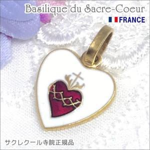【SALE】Mサイズ金色ハート型イエスキリストの聖心メダイユ パリ サクレクール寺院正規品 フランス製 ペンダント ゴールドネックレス|spica-france