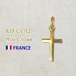 【SALE】18金 ミニクロス 十字架 18k K18 フランス製 ペンダント トップ ヘッド ゴールド ネックレス|spica-france