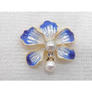 ツジモト真珠のブローチ あこや本真珠 8.5mm ナチュラルバロック フラワー ブルー 青い花  |spicapearl