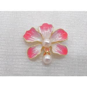 ツジモト真珠のブローチ あこや本真珠 8.5mm ナチュラルバロック フラワー レッド 赤い花  |spicapearl