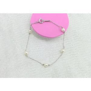 ツジモト真珠の ベビーパール ブレスレット あこや本真珠 パール SVチェーン   スクリュー   5珠   spicapearl
